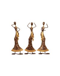 Cocovey Multicolour Metal Dancing Lady Set (HSP111029),  brown