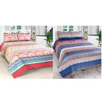 Valtellina Cotton Combo Of 2 Double Bed Sheet With 4 Pillow Cover (CO_ TRT-06), multicolor