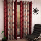 India Furnish Eyelet Polyester Curtain Long Door Length - Set Of 3 Pcs (IFCUR15041L(3) ),  maroon