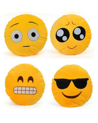 Cortina Cortina Smiley Cushion Set Of 4 (SC-SO4-005),  yellow