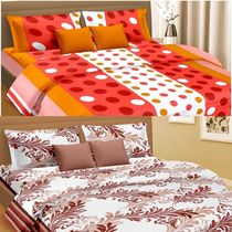 Cortina Premium Set Of 2 Bed Sheet (PRDP-027), multicolor