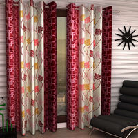 India Furnish Eyelet Polyester Curtain Door Length - Set Of 3 Pcs (IFCUR15022(3) ),  maroon