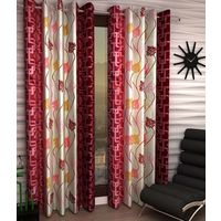 India Furnish Eyelet Polyester Curtain Door Length - Set Of 4 Pcs (IFCUR15022(4) ),  maroon