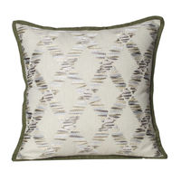 Monogram Ivory Square Cotton Cushion Cover Set - 3 Piece