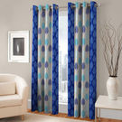 India Furnish Eyelet Polyester Curtain Long Door Length - Set Of 3 Pcs (IFCUR15043L(3) ), turquoise