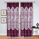 India Furnish Eyelet Polyester Curtain Long Door Length - Set Of 6 Pcs (IFCUR15006L(6) ), wine