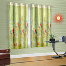 Cortina Green Leaf Theme Child Curtain-Set Of 2 (DG-S-5FT-SO2), light green
