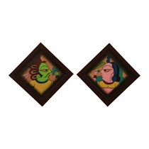 Cocovey Couple Rajasthani Phad Painting Set (HWP111046), multicolor