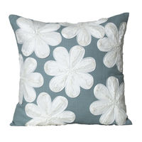 Monogram Multicolor Square Cotton With Floral Embroidery Cushion Cover Set - 5 Piece