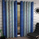 India Furnish Eyelet Polyester Curtain Door Length - Set Of 3 Pcs (IFCUR15101(3) ),  blue