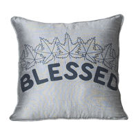 Monogram Grey Square Polyester Hand Print Cushion Cover Set - 5 Piece