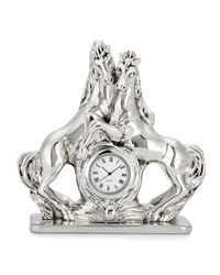 Shaze Silver Horses With Table Clock,  silver