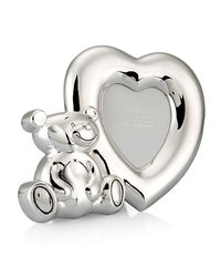Shaze Teddy Heart Photo Frame,  silver