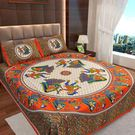 Ahmedabad Cotton Jaipuri Collection Cotton Double Bedsheet With 2 Pillow Covers (ACB20D00122)