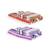Turkish Bath 100% Pure Double Twisted Cotton 360 Gsm Cosmos Bath And Hand Towel Set - Purple And Brown