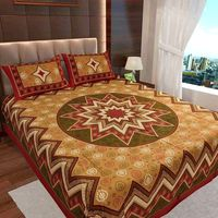 Ahmedabad Cotton Jaipuri Collection Cotton Double Bedsheet With 2 Pillow Covers (ACB20D00117)