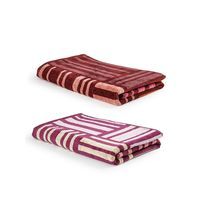 Turkish Bath 100% Pure Double Twisted Cotton 410 Gsm Broken Check Bath Towel - Purple And Brown
