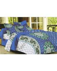Valtellina Cotton King Size 1 Double Bedsheet With 2 Pillow Covers (TR_ LV-019), multicolor