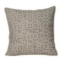 Monogram Camel Square Cotton Hand Printed Cushion Cover Set - 5 Piece