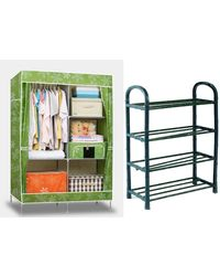 Urban Style Foldable Wardrobe & Shoe Rack Combo,  green