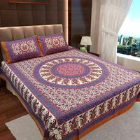 Ahmedabad Cotton Jaipuri Collection Cotton Double Bedsheet With 2 Pillow Covers (ACB20D00106)