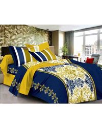 Valtellina Cotton King Size 1 Double Bedsheet With 2 Pillow Covers (TR_ LV-001), multicolor