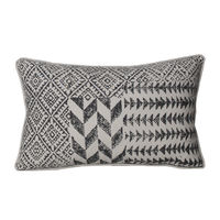 Monogram Light Grey Rectangular Cotton Hand Printed Cushion Cover Set - 5 Piece (552A1644)