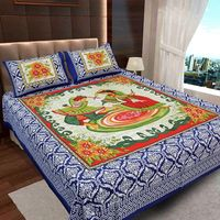Ahmedabad Cotton Jaipuri Collection Cotton Double Bedsheet With 2 Pillow Covers (ACB20D00132)