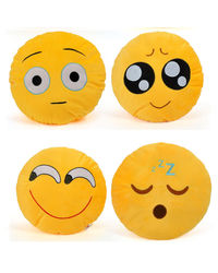 Cortina Cortina Smiley Cushion Set Of 4 (SC-SO4-006),  yellow