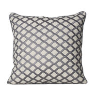 Monogram Beige Square Embroidery Cotton Cushion Cover Set - 5 Piece