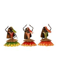 Cocovey Multicolour Metal Rajasthani Dancing Lady Set (HSP111034), multicolor