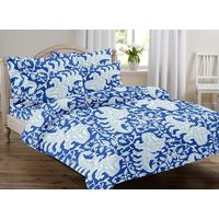 Ahmedabad Cotton Jaipuri Collection Cotton Double Bedsheet With 2 Pillow Covers (ACB20D00010)