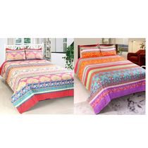 Valtellina Cotton Combo Of 2 Double Bed Sheet With 4 Pillow Cover (CO_ TRT-14), multicolor