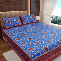 Ahmedabad Cotton Jaipuri Collection Cotton Double Bedsheet With 2 Pillow Covers (ACB20D00120)