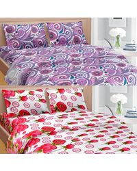 Cortina Premium Set Of 2 Bed Sheet (PRDP-042), multicolor