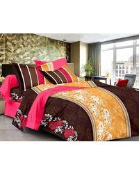 Valtellina Cotton King Size 1 Double Bedsheet With 2 Pillow Covers (TR_ LV-003), multicolor