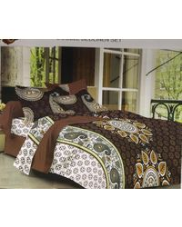Valtellina Cotton King Size 1 Double Bedsheet With 2 Pillow Covers (TR_ LV-017), multicolor