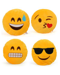 Cortina Cortina Smiley Cushion Set Of 4 (SC-SO4-007),  yellow