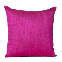 Monogram Dark Pink Square Polyester Solid Colour Cushion Cover Set - 5 Piece