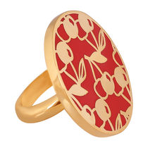 Shaze Gold-Plated Red Cherry Ring