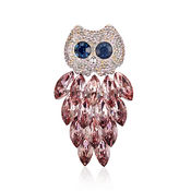 Shaze Silver-Plated Pink Owl