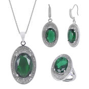 Shaze Rhodium-Plated Raised Green Jewelry Set