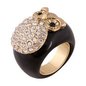 Shaze Gold-Plated Black And Golden Owl Ring