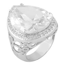 Shaze Silver-Colored Rich White Ring