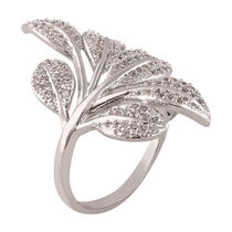 Shaze Silver-Plated Silver Leaf Ring