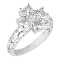 Shaze Silver-Plated Floral Setting Ring