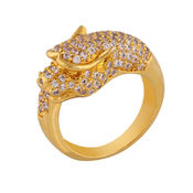 Shaze Gold-Plated Panther Stud Ring