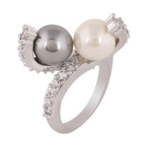 Shaze Silver-Plated Grey Pearl Ring