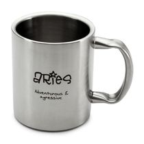 Hot Muggs Aries Personality Sunsign Stainless Steel Double Walled Mug 350 ml-1 Pc,  silver