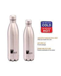 Eco Alpine Stainless Steel Hot and Cold Thermoflask Bottle Combo - 750 ML & 1000 ML,  silver